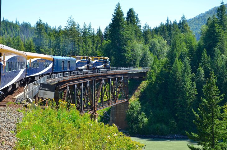 A Rocky Mountaineer train in the Canadian Rockies