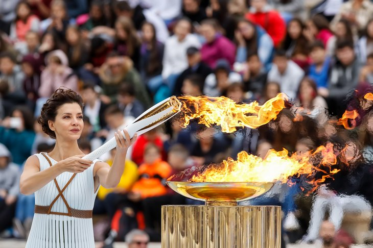 Olympic flame lighting ceremony