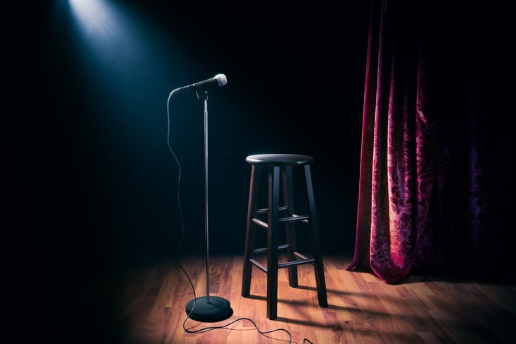 Empty stage for comedian