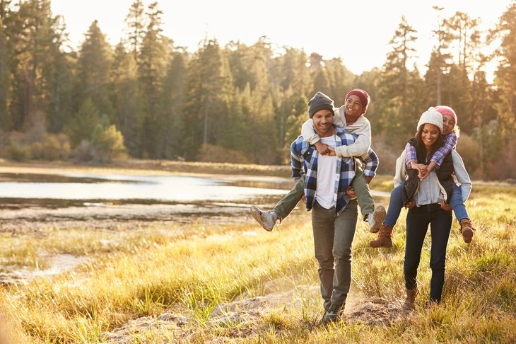 outdoors family active autumn african american multi ethnic multiethnic