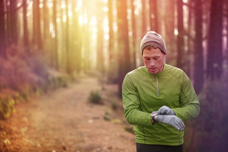 trail runner outdoors forest running jogging active man
