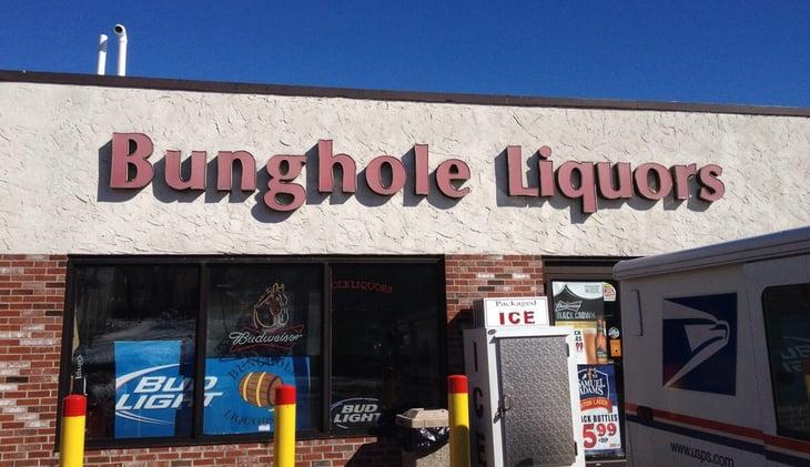 Exterior view of Bunghole Liquors.