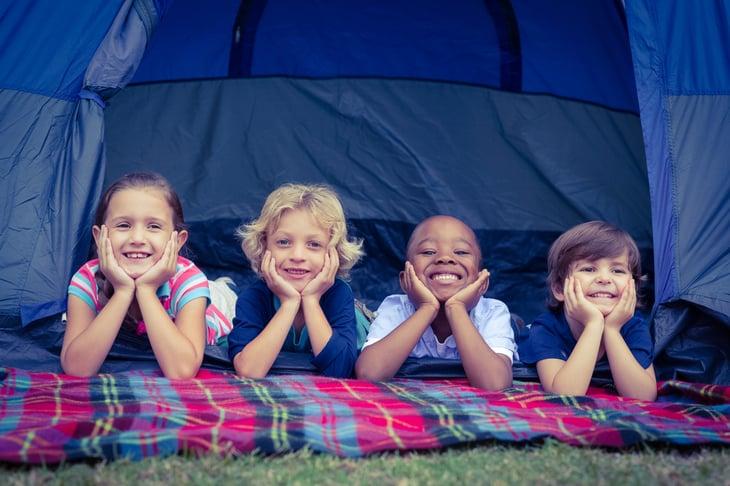 Kids in tent.