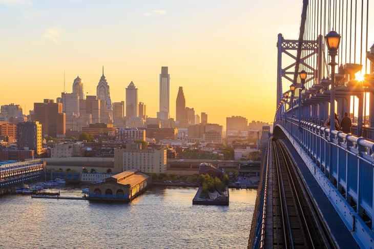 Philadelphia, Pennsylvania at dusk