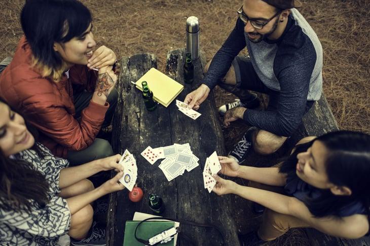 Card game at campsite
