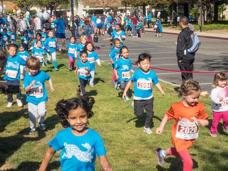 Kids running in Easter celebration
