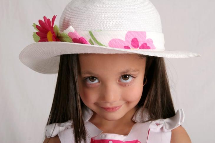 Little girl in Easter bonnet