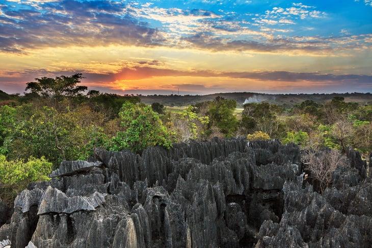 Sunset Tsingy de Bemaraha Strict Nature Reserve in Madagascar.
