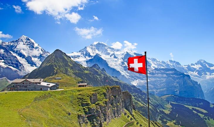 Swiss flag on the top of Mannlichen (Jungfrau region near Bern, Switzerland).