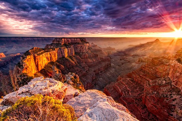 Sunset at the Grand Canyon's North Rim.