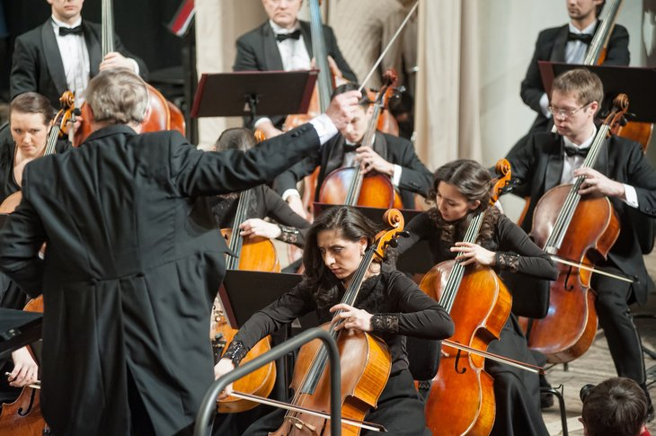 Orchestra performing at a concert