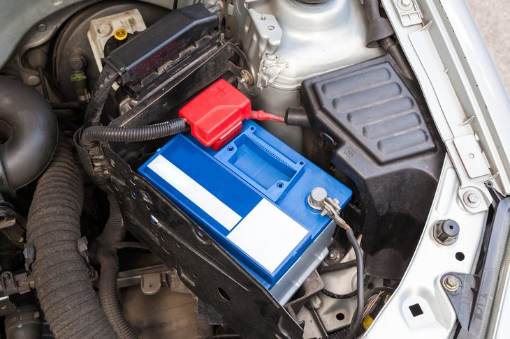 Car battery in engine
