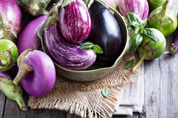 Eggplant in a bowl on table