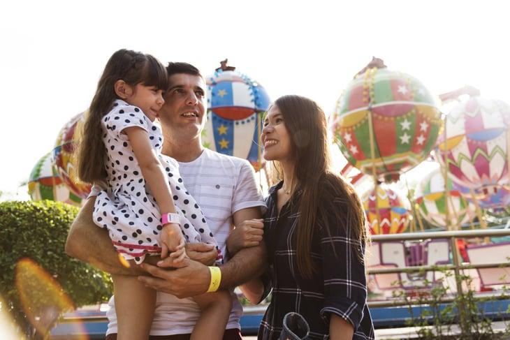 Parents and daughter at amusement park