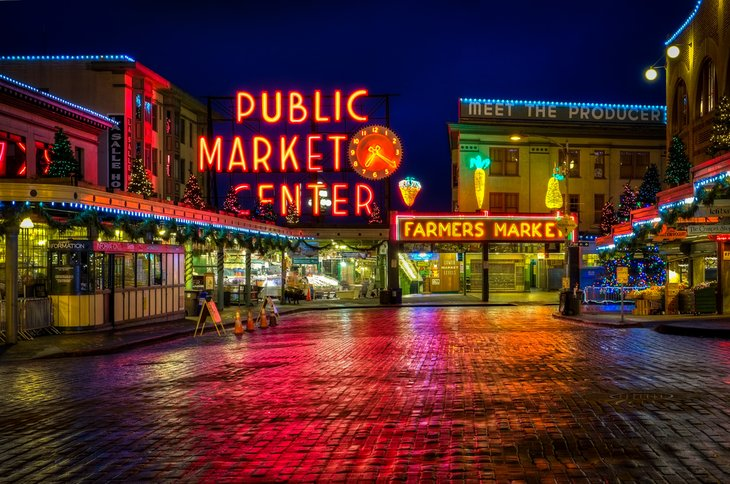 Pike Place Market at night.