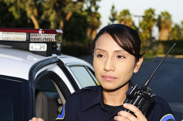Police officer with radio