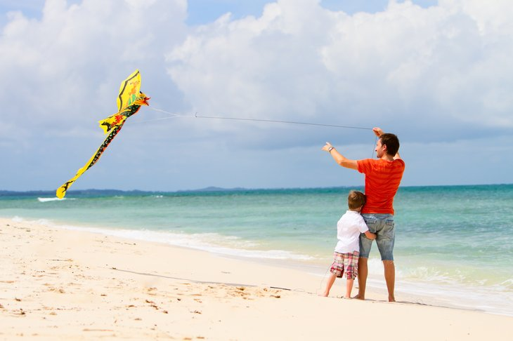 A windy beach is a great place to fly a kite.