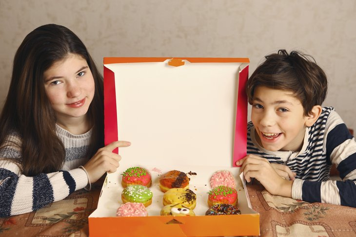 kids and doughnuts