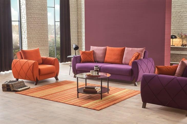 Purple and orange living room furniture set.