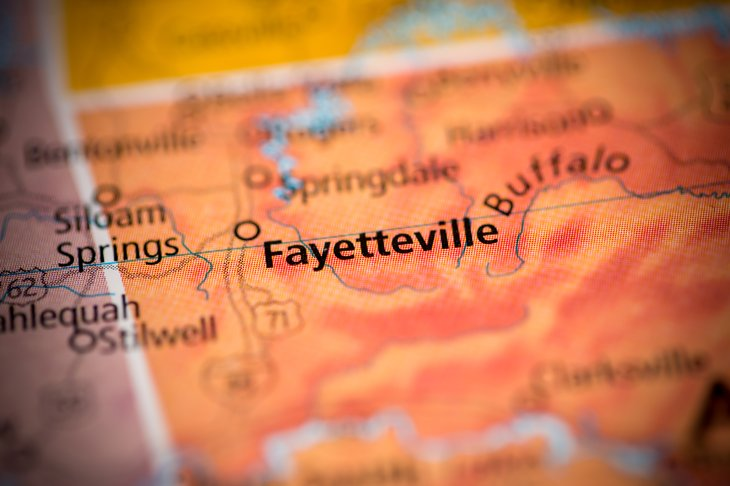 Fayetteville on a map, close up.