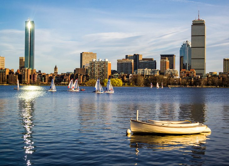 Boston skyline summer day.