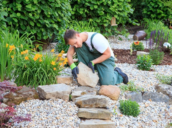 Landscaper working in a yard