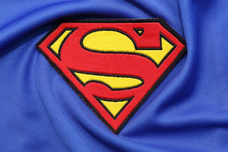 Closeup of Superman logo