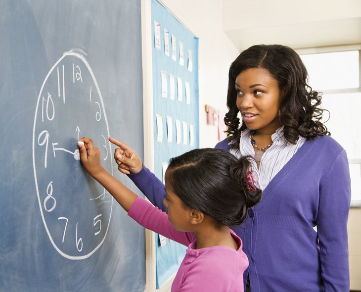 Teacher teaching a student how to tell time at a classroom chalkboard