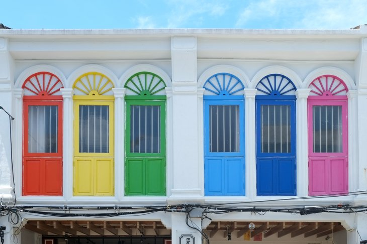 Windows painted with bright colors