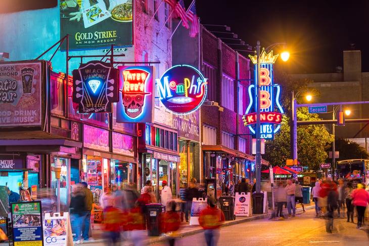 Street scene, Memphis, Tennessee.