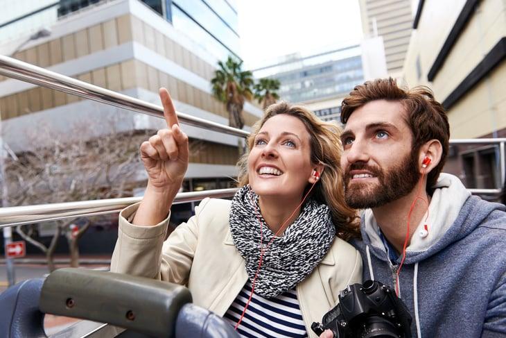 Couple on city tour bus