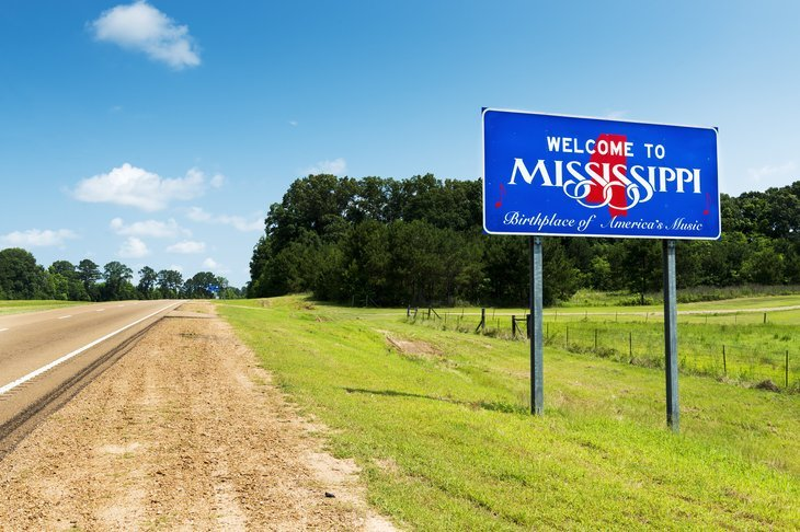 Mississippi road sign