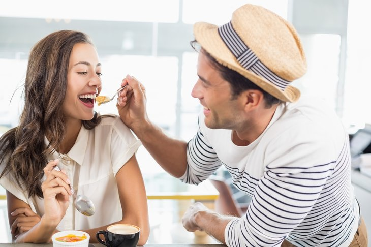 Couple eating dessert
