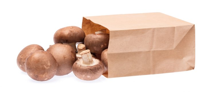 Mushrooms spilling out of paper bag.