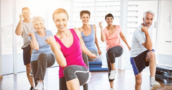 Aerobic exercise class.