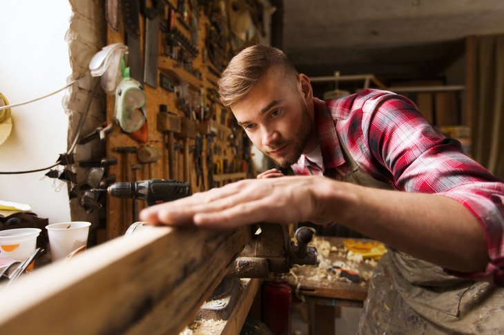 Woodworker in his shop.