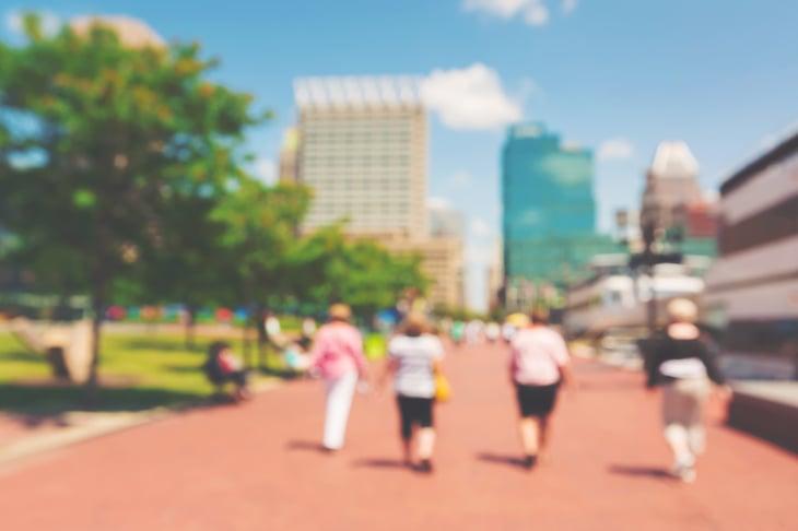 People walking in Baltimore.
