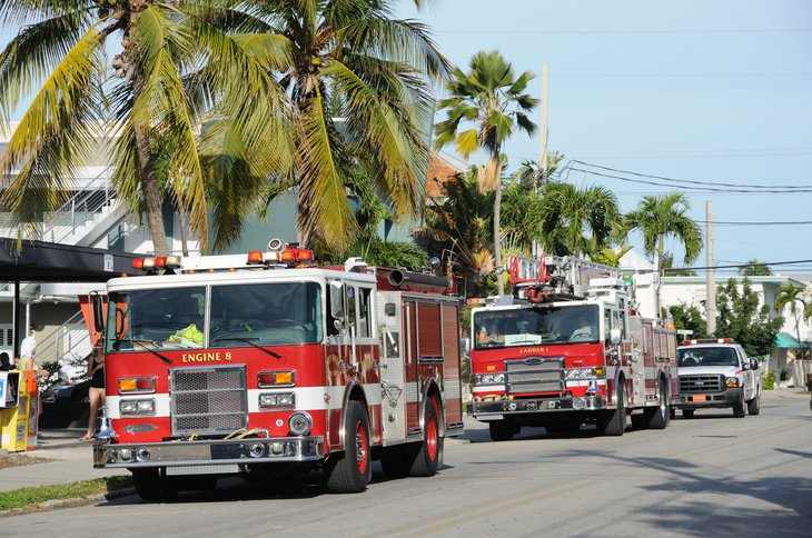 FLORIDA, USA - DEC 22: Fire trucks in Key West, Florida, USA. December 22, 2009 in Everglades, Florida, USA