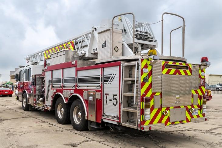 SAN MARCOS, TEXAS - APRIL 16 2016: San Marcos Fire Department Smeal custom fire engine