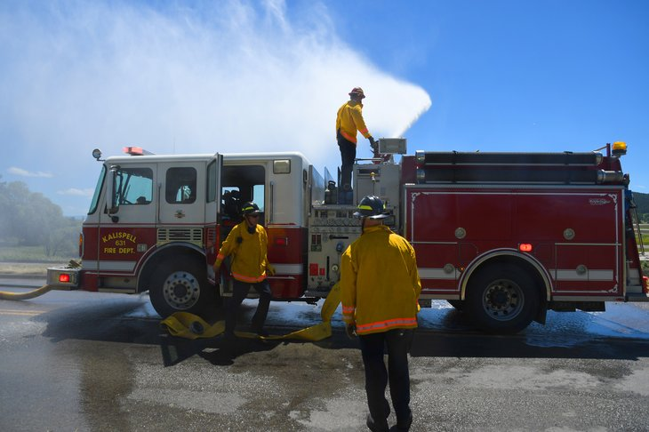 Firefighters in Kalispell, Montana