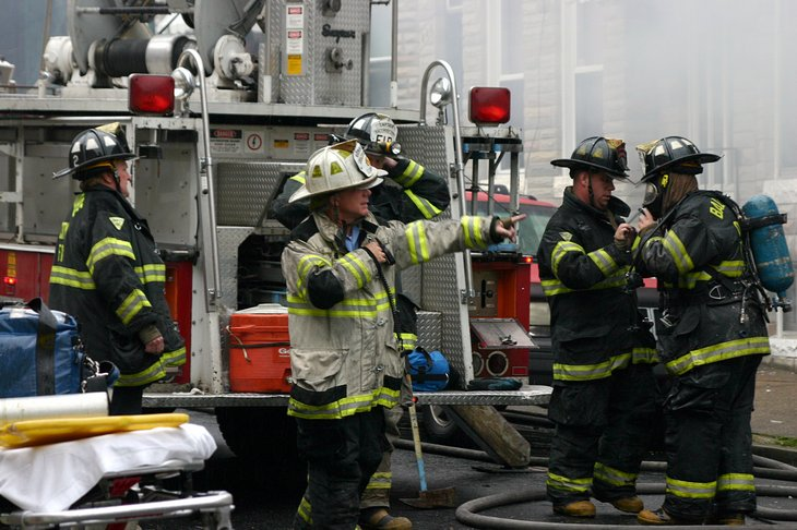 Firefighters working in Baltimore, Maryland
