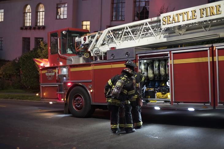 Firefighters working in Seattle, Washington