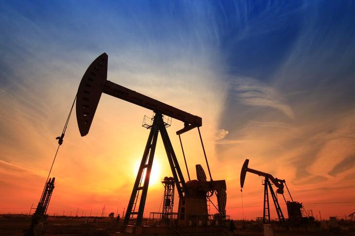 Oil rig in an oil field