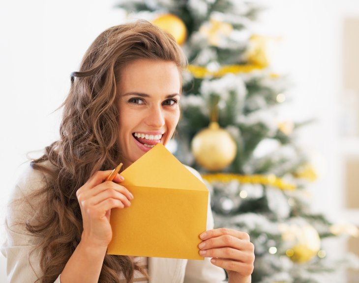 Woman and envelope