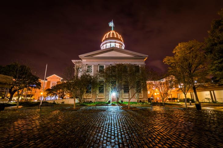 Norfolk, Virginia at night.