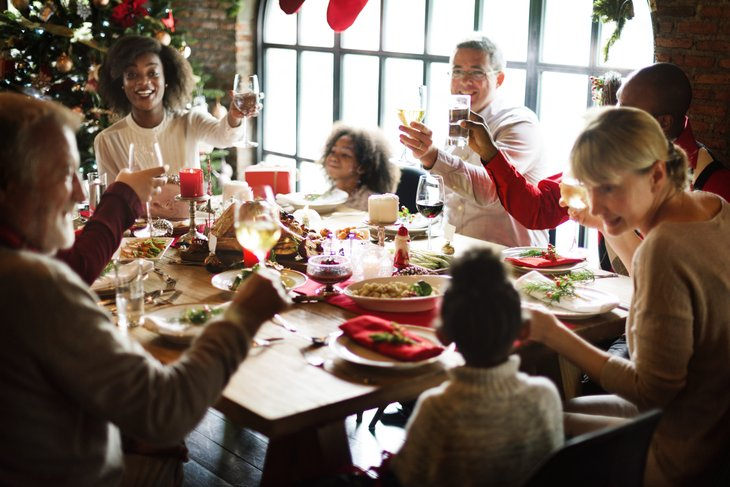 Family Together Christmas Celebration diverse multi ethnic family