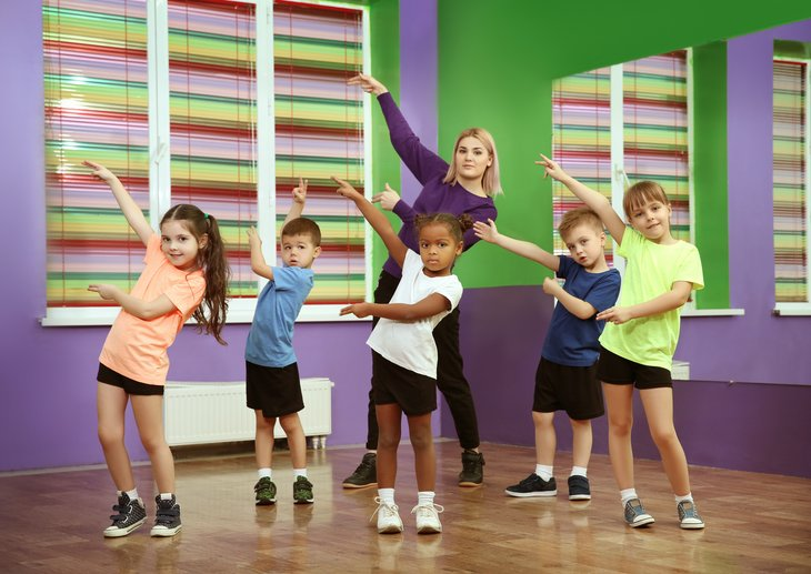 Kids dancing with teacher in studio