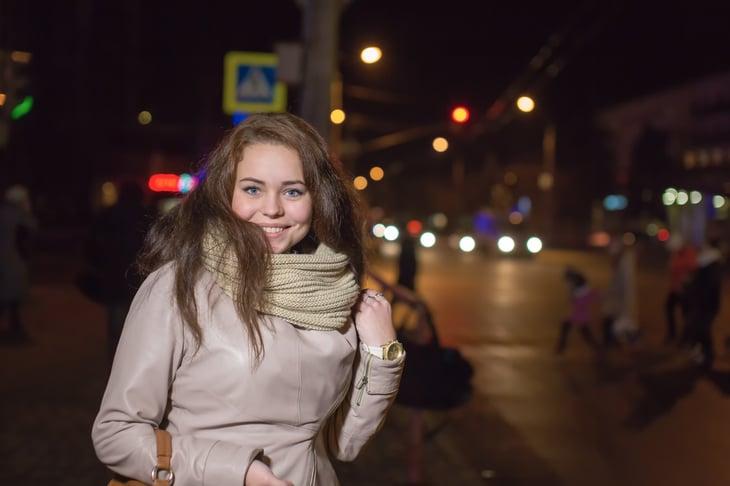 Woman at night