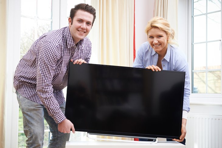 Couple with TV