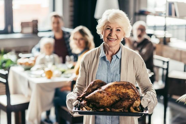 Woman with turkey